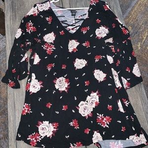 Black floral torrid blouse size 4